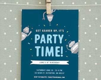 Robot Themed Birthday Party Invitation