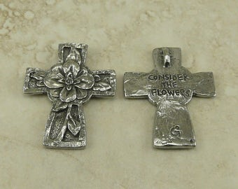 Flower Cross Hand Green Girl Charm Pendant - Floral Easter Rosary Religion Christian - American Artist Made Lead Free Pewter Silver 252