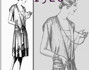 "Lady's Evening Dress - 35"" Bust -  Vintage Reproduction PDF Pattern - 1920's - made from original 1926 pattern"