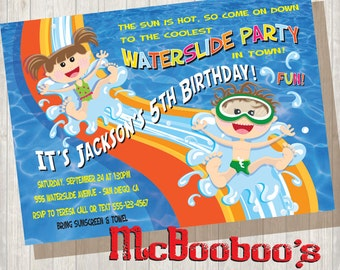 Pool Party Waterslide Birthday Pool Party Invitation Boy and Girl sliding down