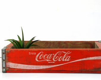 Red Coke Soda Pop Crate / Vintage Wood Coca-Cola Drink Case / Dated 1978