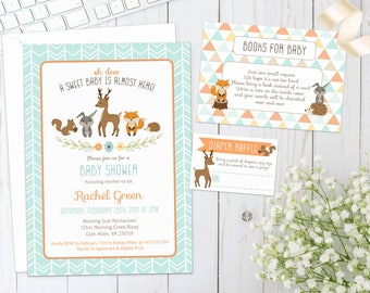 WOODLAND BABY SHOWER Invite | Printed | Gender Neutral | Invitation with forest animals, creatures, fox, deer, hedgehog, racoon, rabbit