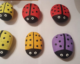 Hand Painted Lady Bugs - Garden Ornament, Stocking Stuffer, Landscaping ideas