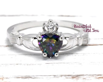 Claddagh Ring, Irish Claddagh Ring, Celtic Claddagh Ring, Rainbow Topaz Cubic Zirconia Claddagh Ring, Sterling Silver Claddagh Ring