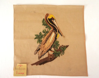 Vintage Pelican Needlepoint Pillow or Chair Seat Unfinished Canvas