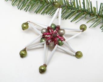 Antique Mercury Glass Beads Star Christmas Tree Ornament, Vintage Russian