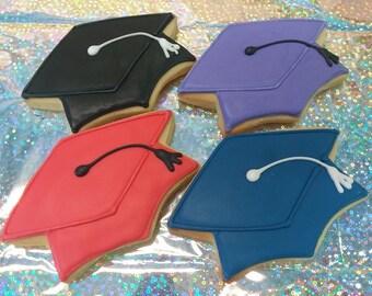 Graduation Cap Cookies - Mortar Board Cookies - 12 Cookies