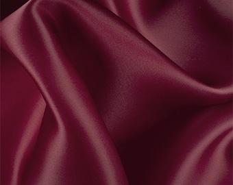Burgundy Silk Satin Organza, Fabric By The Yard