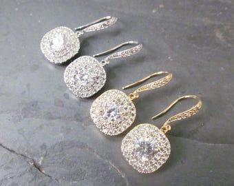 Crystal wedding earrings, square earrings, princess cut earrings, bridal e arrings, crystal earrings, Cubic Zirconia Earrings Bridal Jewelry
