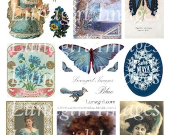 BLUE ephemera, digital collage sheet, VINTAGE images Victorian pictures shabby cottage chic romantic ladies butterflies altered art DOWNLOAD