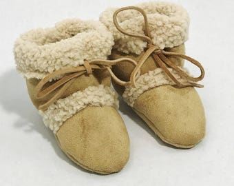 Neutral Gender Tan Sherpa Booties