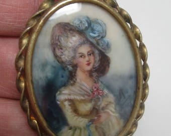 Antique brass & hand painted Victorican portrait brooch /pin