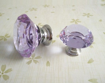Purple Knob Knobs Glass Knobs Crystal Knob Dresser Knob Drawer Knobs Pull Handles Silver Kitchen Cabinet Knobs Sparkly Shiny Furinture Bling
