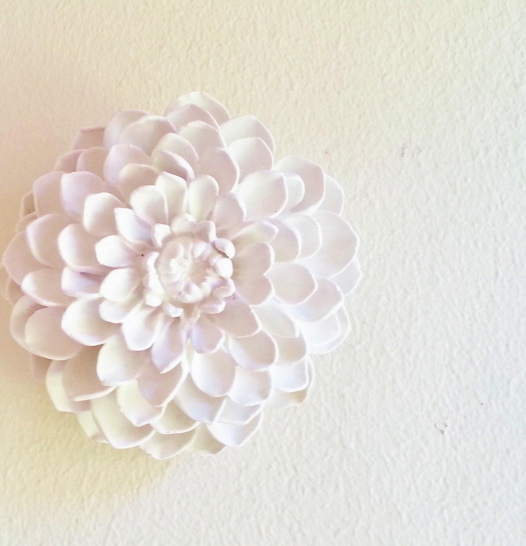 White Wall Decor Dahlia Wall Sculpture Boheme Stone Flowers Modern