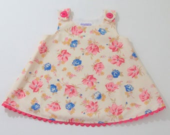 Pink Rose Girls Dress, Baby Dress, Toddler Dress, Floral Dress, Girls Sundress, Girls Pinafore, Pink Dress, Size Newborn, 12-18 M, 18-24 M