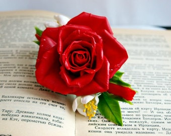 bright red rose hair clip barrette, flower hair accessories