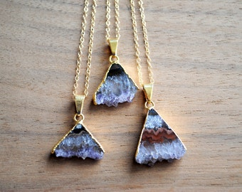 "Amethyst Triangle Slice Necklace. Raw Gemstone Pendant. Gold Plated on 18"" 14K Gold Filled Chain. Purple Stone. Gold Edged Necklace."