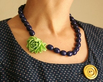 Lime and royal blue necklace, apple green purple blue vintage Lucite necklace rose necklace