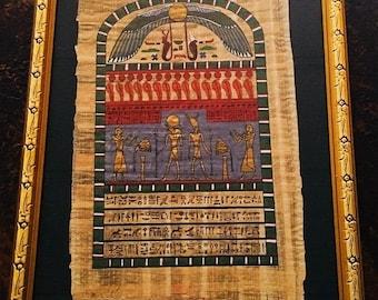 Egyptian Papyrus Wall Decor, Egyptian Hieroglyphics Art, Gold Framed Matted  Wall Hanging Under Glass