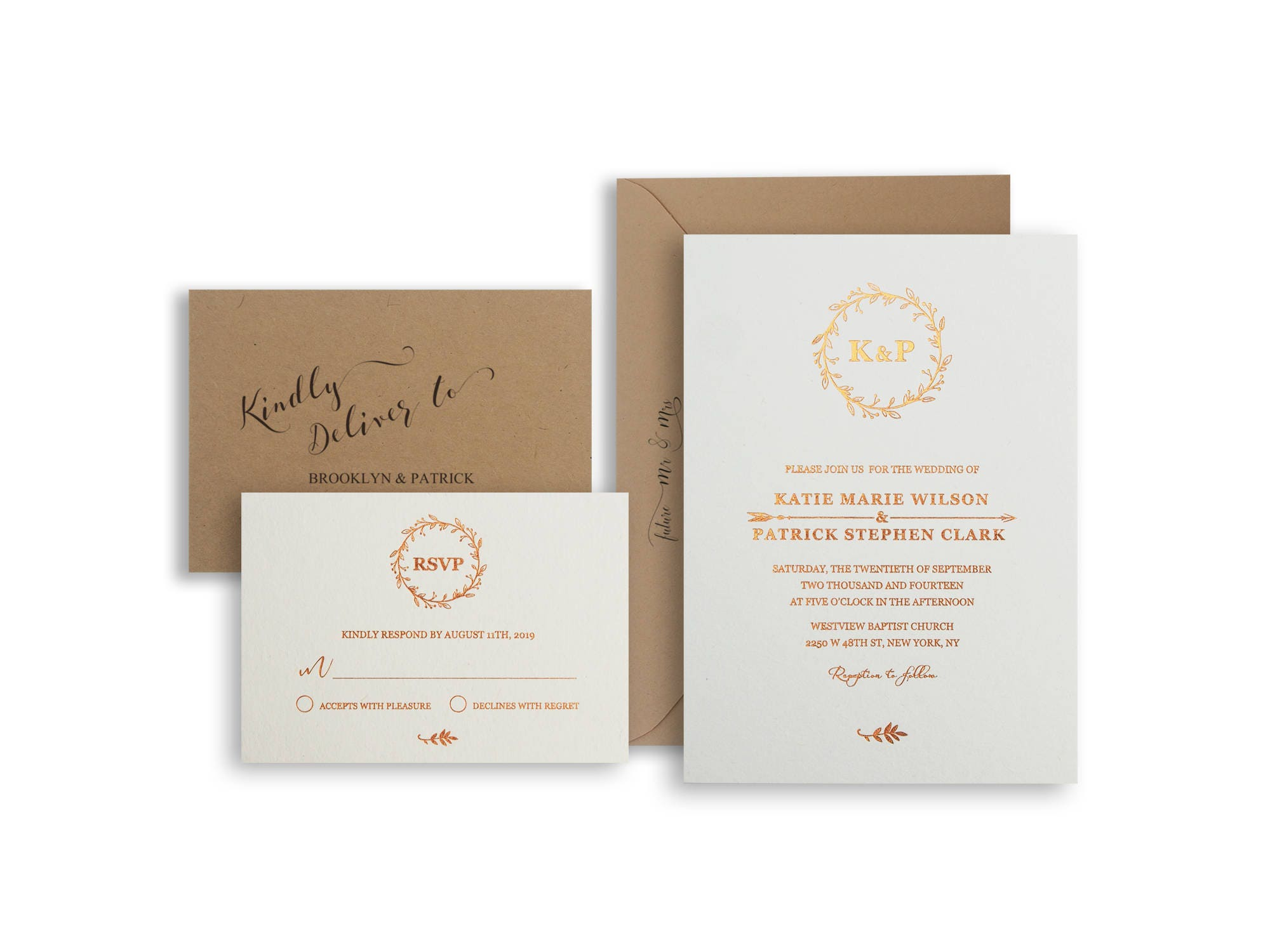 Gold foil wedding invitations Custom foil invitations suite Gold ...