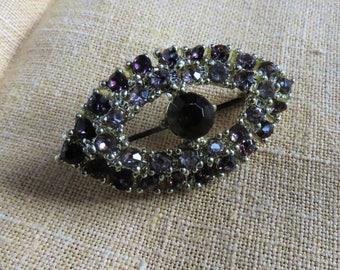 Sapphire and crystal vintage brooch