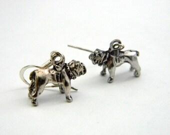 Bulldog Earrings Silver Color Dangle Earrings 3 Three Dimensional Dog Earrings