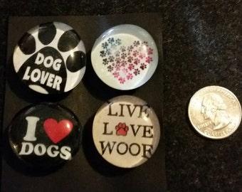 Set of 4 Strong magnets, Glass magnets, Dog Lover magnets, paw print, refrigerator Magnets, fridge magnets, kitchen decor, gift pet lover
