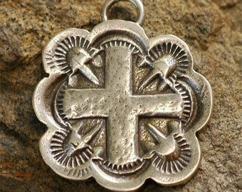 Handcrafted Artisan SilverSmithed Stamped Cross in Sterling Silver Pendant