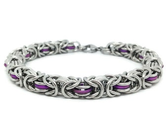 11th Anniversary Stainless Steel Bracelet, Anniversary Gift for Wife, Steel Anniversary, Wedding Anniversary, Eleventh Anniversary,Chainmail