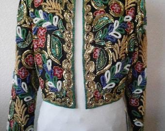 I. Magnin silk jacket blazer sequin beaded/New I. Magnin blazer/size 12