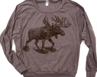 Womens MOOSE (In Snow Shoes) Tri-Blend Pullover T-Shirt - hand screen printed S M L (+ Color Options) yoga gym tee workout