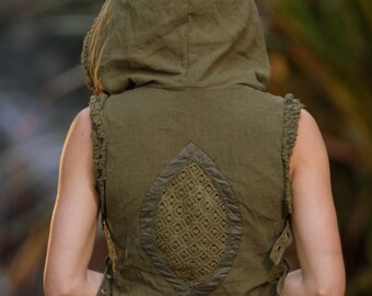 Raw Maya Vest (Green) - Festival Clothing Boho Gypsy Hoodie Festival Tribal Hippie Big Hood Lace Bohemian