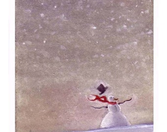 Snowman Card - Christmas Greeting Card Snowman - Happy Holidays Snowman Card - Snow Winter Landscape Watercolor Painting Print 'Snow Day'