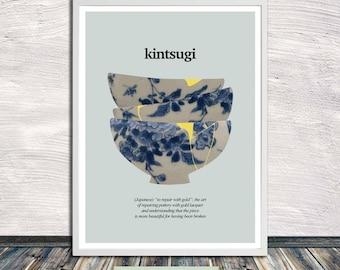 Kintsugi ceramics (on light grey), Kintsukuroi, Japanese aesthetics, Poster, Healing, Words, Printable Art, Instant Digital Download
