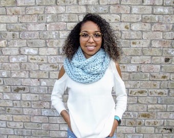 READY TO SHIP: Infinity Scarf// mystical infinity scarf// crochet scarf// chunky scarf// chunky blue scarf