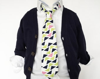 Navy and Lime Triangle Necktie