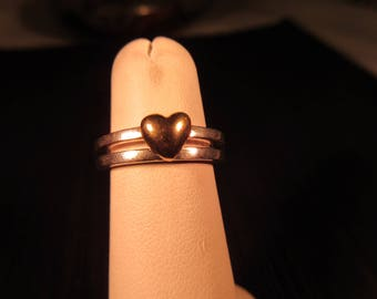 Trendy Sterling Silver 14K Gold Heart Ring - Friends Forever - 5