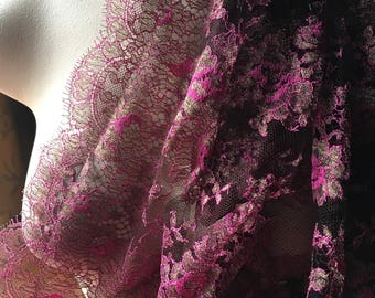 """Fuchsia & Copper Chantilly Lace Fabric 36"""" width from France by Solstiss for Bridal, Couture, Lyrical Dance, Ballet"""
