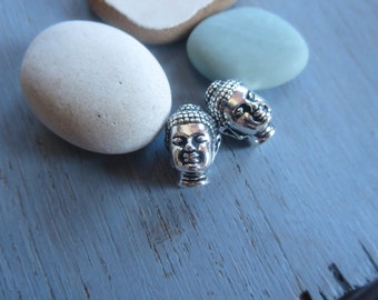 Buddha head  pewter beads, Antiqued Silver plated  , 14 x 9.75mm ,  metal casting, boho yoga inspired supplies ,  2 beads / 8aT-5718-12