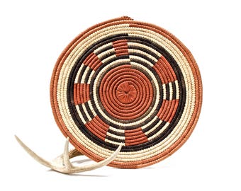 VINTAGE: Native American Coiled Tray Baskets - Flat Ceremonial Tray - Hand Woven and Hand Dyed - SKU 27-A-00011192-os-no