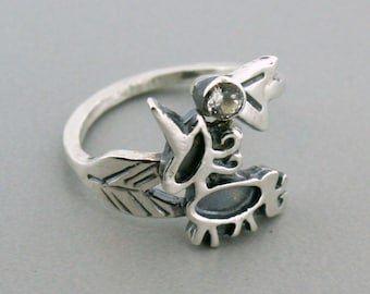 Adjustable Ring - Silver Unicorn Ring- Birthstone Ring-  Unicorn Jewelry - Gift for Her - 3mm round
