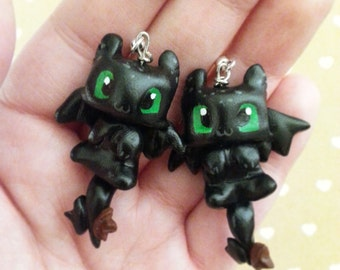 Black dragon, cute fantasy creature polymer clay earrings- inspired by Toothless