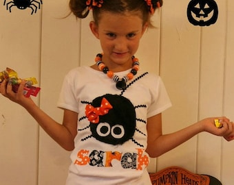 Personalized Halloween Shirt for Children, Toddler Girl Halloween Shirt with Name, Spider Halloween Shirt, Halloween Clothing Children