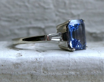Classic Vintage 14K White Gold Ceylon Sapphire Engagement Ring with Baguette Diamonds - 3.30ct.