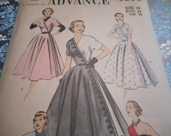 SALE Vintage 1950's Advance 6238 Stunning Half or Contrast Dress Sewing Pattern, Size 14 Bust 32