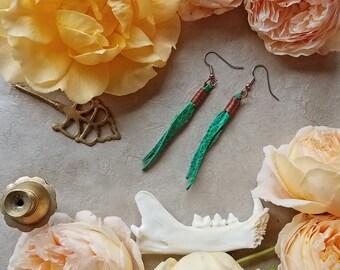 Teal Leather Earrings / Copper Wire Wrap / Boho Jewlery / Minimalist Earrings / Boho Chic Earrings / Vintage Leather