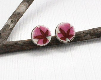 Broken China Jewerly - Earring Studs - Recycled Plates - Magenta Pink Flowers - Broken Plates