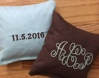 Monogram Corn Hole Bags BOTH SIDES Embroidery Only - Wedding Gift - Party Games - Family Reunion - Personalized Corn Hole - Engagement Groom