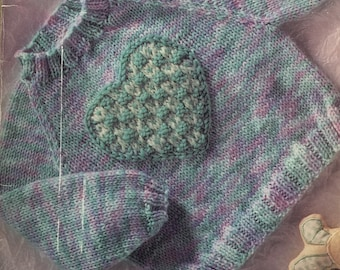 Heart Warmer PDF Baby Knitted Raglan Pullover Pattern 6 mo - 2 yr.  Instant Download!
