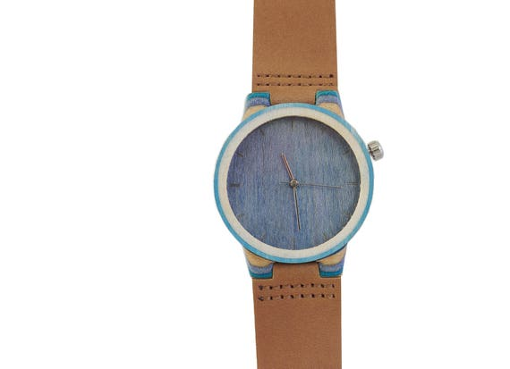 7PLIS watch #107 Recycled SKATEBOARD #madeinfrance brown turquoise blue